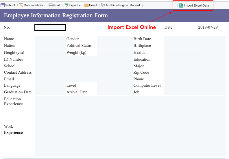 Import excel data online