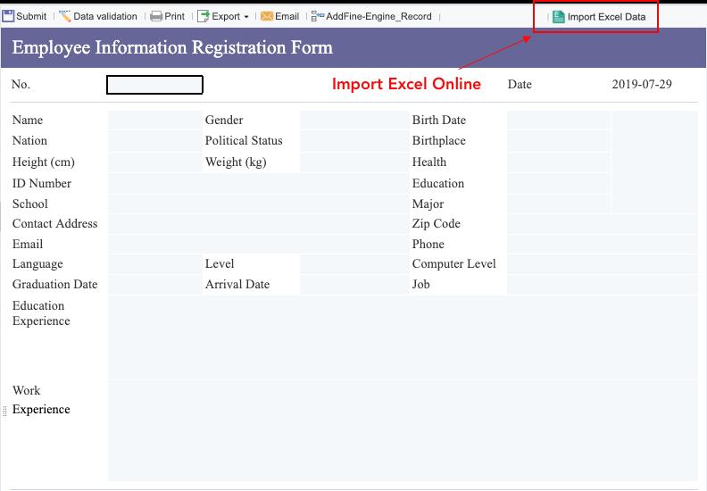 Import excel data online