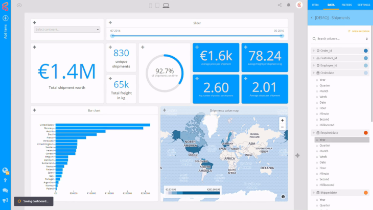 a SaaS platform for building reports and dashboards